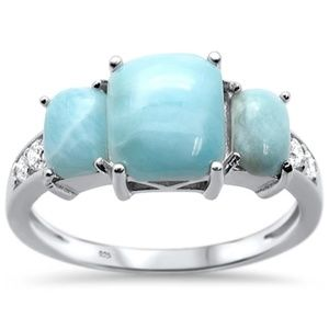 natural larimar radiant cut 925 sterling silver